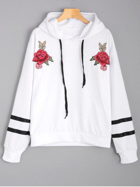 outfit Floral Appliques Striped Hoodie - WHITE L Mobile