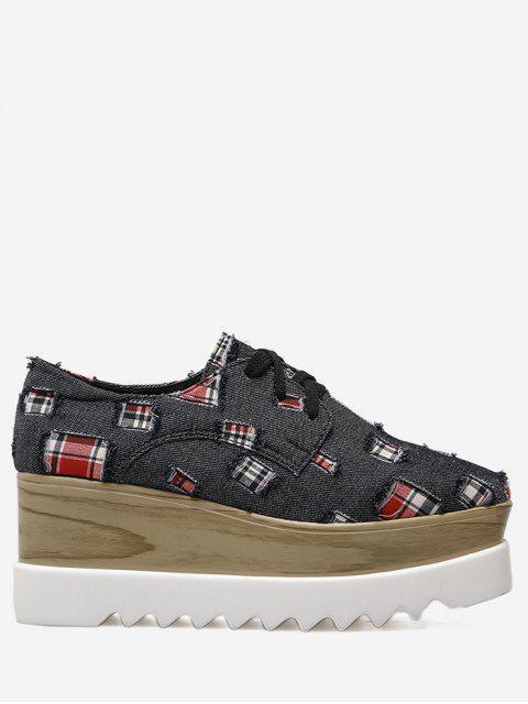 Plaid Denim Square Toe Wedge Zapatos - Negro 38 Mobile