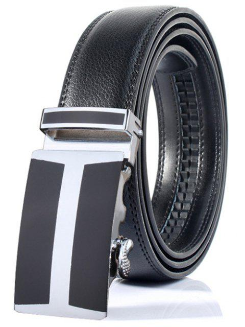 hot Simple H Shape Automatic Buckle Wide Belt - BLACK  Mobile