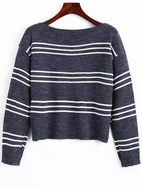 shop Long Sleeve Stripes Pullover Sweater - STRIPE ONE SIZE Mobile