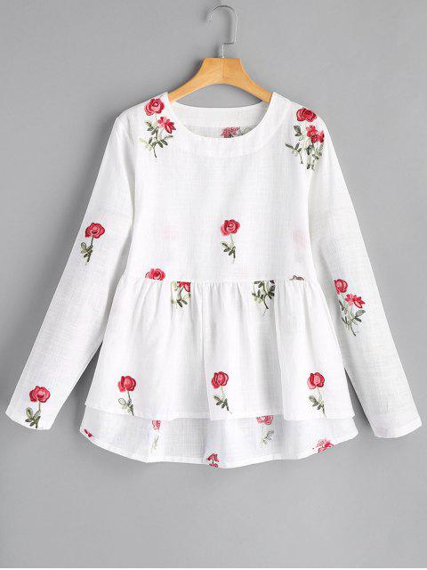 fashion Round Collar Flower High Low Blouse - WHITE M Mobile