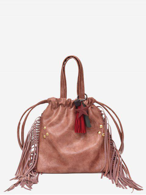 unique String Fringe Rivet Handbag - PINK  Mobile
