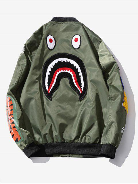 unique Zip Up Patch Bomber Jacket - ARMY GREEN L Mobile