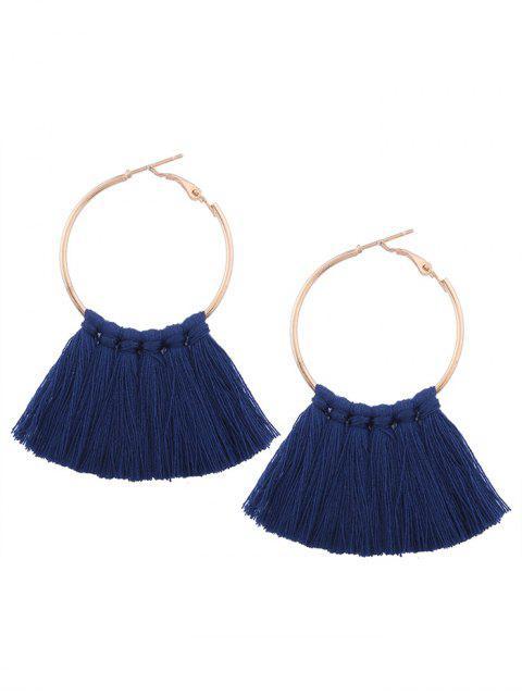 sale Circle Tassel Hoop Earrings - NAVY BLUE  Mobile