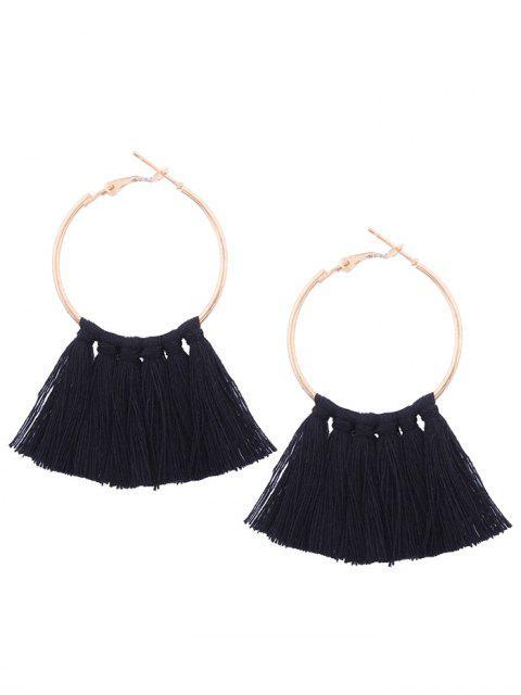 womens Circle Tassel Hoop Earrings - BLACK  Mobile
