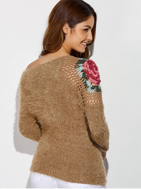 latest Hollow Out Embroidered Skew Neck Fuzzy Sweater - LIGHT BROWN ONE SIZE Mobile