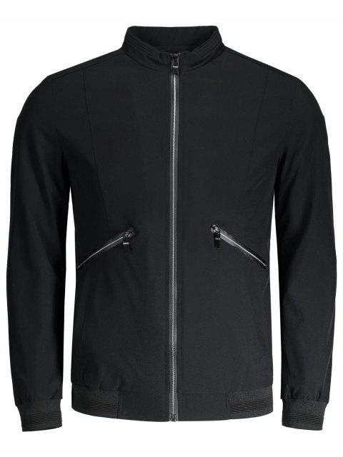 best Zipper Pocket Waterproof Jacket - BLACK 4XL Mobile