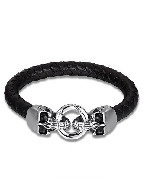 ladies Skulls Faux Leather Weaving Bracelet - BLACK  Mobile
