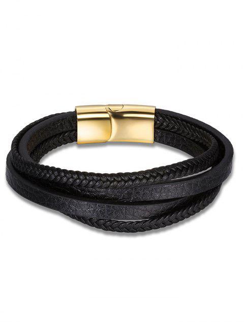 Faux Leder mehrschichtiges Geflochtenes Armband - Schwarz  Mobile