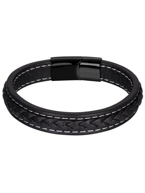 outfits Artificial Leather Braid Bracelet - BLACK  Mobile