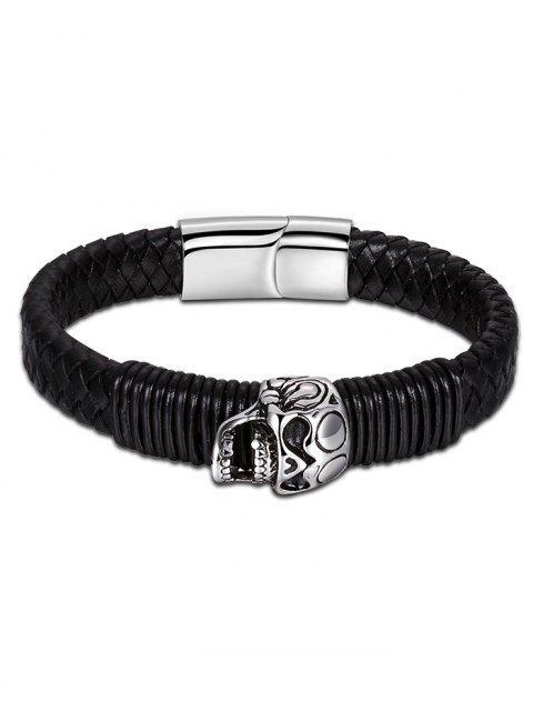 Bracelet en Similicuir Tressé avec Crâne - Noir  Mobile