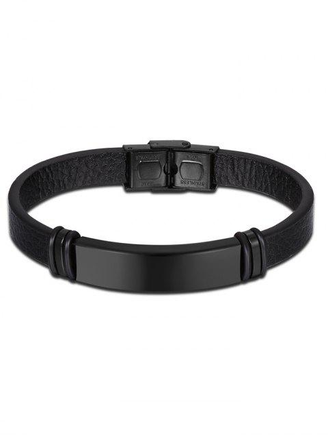 shops Artificial Leather Vintage Bracelet - BLACK  Mobile