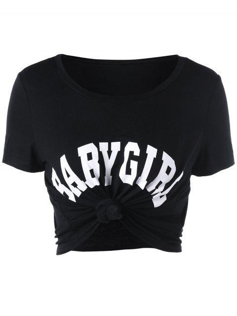 T-shirt Court à Message - Noir S Mobile