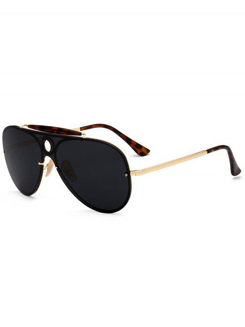 Leopard Bar Hollow Round Shield Pilot Gafas de sol - Negro  Mobile