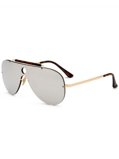 Leopard Bar Hollow Round Shield Pilot Gafas de sol - Plata  Mobile