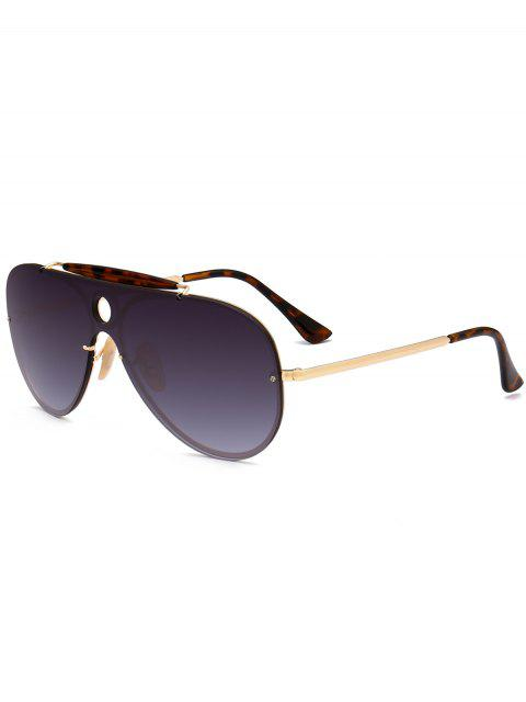 Leopard Bar Hollow Round Shield Pilot Gafas de sol - Gris Oscuro  Mobile