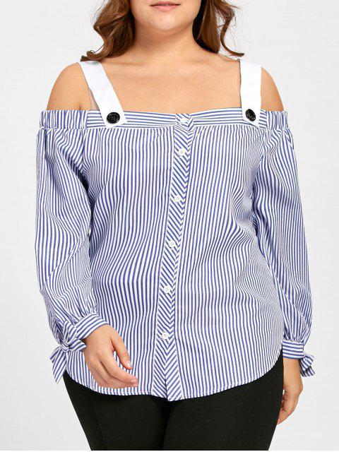 fancy Plus Size Bowtie Stripe Off the Shoulder Blouse - BLUE 4XL Mobile