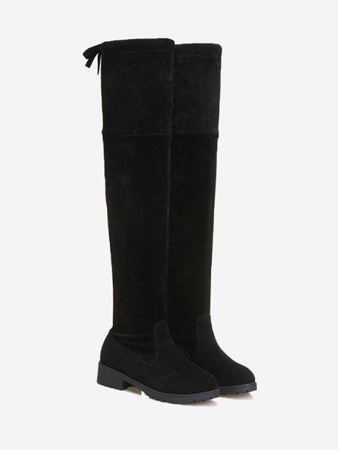 fancy Tie Back Low Heel Thigh High Boots - BLACK 39 Mobile