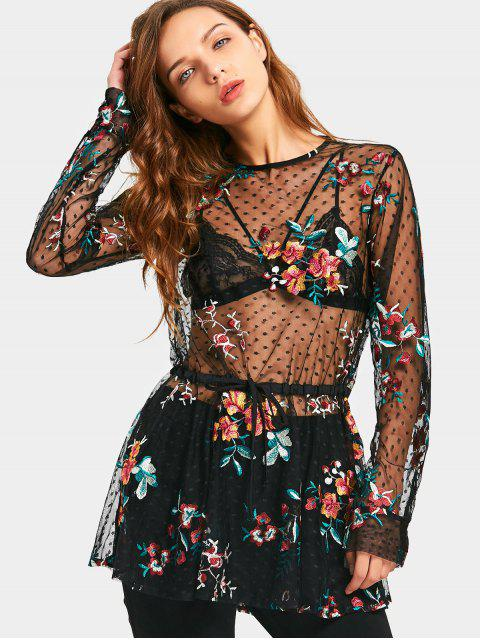 sale Floral Embroidered Ruffles See Thru Blouse - BLACK M Mobile