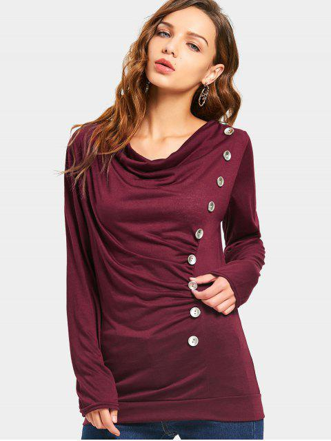 ladies Draped Side Buttoned Blouse - WINE RED L Mobile