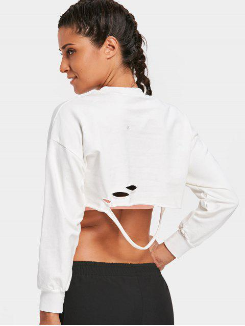 chic Cropped Ripped Sweatshirt - WHITE ONE SIZE Mobile