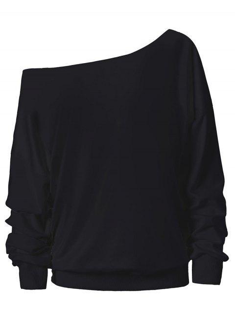 women's Halloween Ghost Skew Neck Sweatshirt - BLACK 2XL Mobile