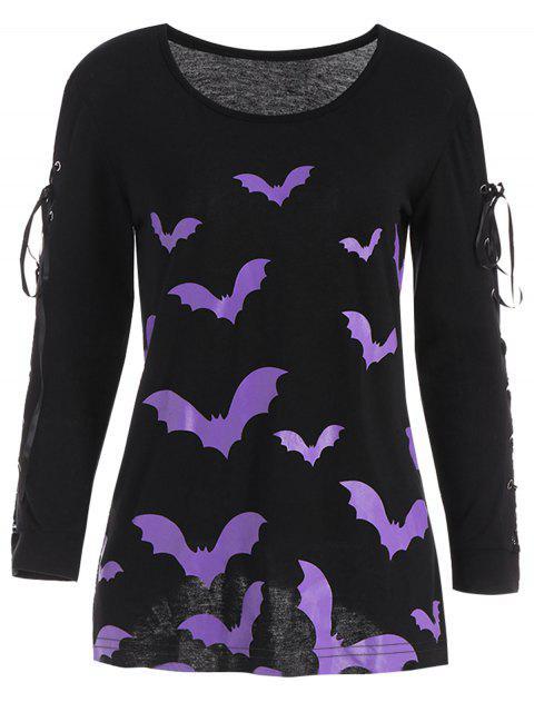 Criss Kreuz-langes Hülsen-Halloween-Schläger-T-Shirt - Schwarz XL  Mobile