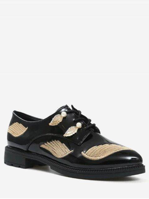 buy Embroidery Faux Pearl Wing Flat Shoes - GOLDEN 38 Mobile