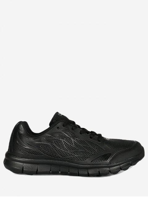 shop Mesh Lace Up Sneakers - BLACK 38 Mobile
