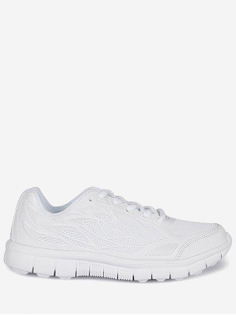fancy Mesh Lace Up Sneakers - WHITE 38 Mobile