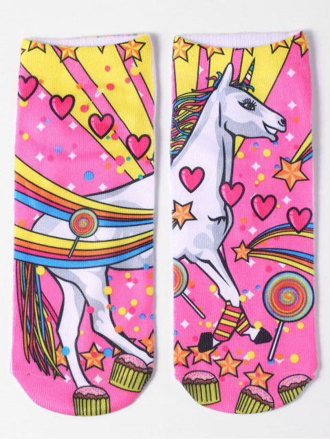 women's Magical Unicorn Ankle Socks - YELLOW  Mobile