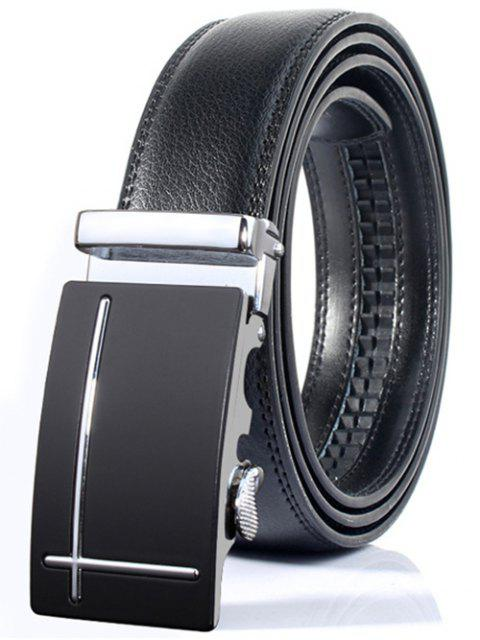 new Polished Perpendicular Line Automatic Buckle Wide Formal Belt -   Mobile