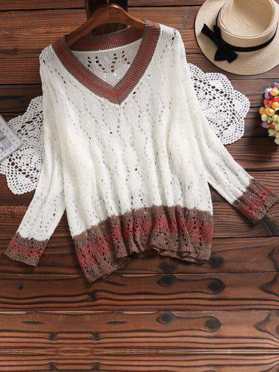 Hollow Out Contrast Knitted Top