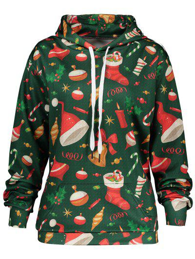 Christmas Candy Socks Print Hoodie With Pocket - Green L