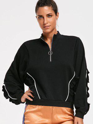 Sweatshirt mit Rüschen und halbem Reißverschluss
