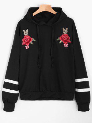 Floral Appliques Striped Hoodie - Black L