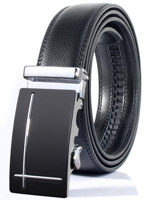 Línea perpendicular pulida hebilla automática amplia cinturón formal