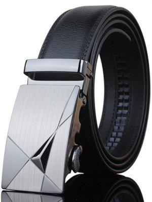 Elegante forma de triángulo embellecido metal hebilla cinturón negro para hombres