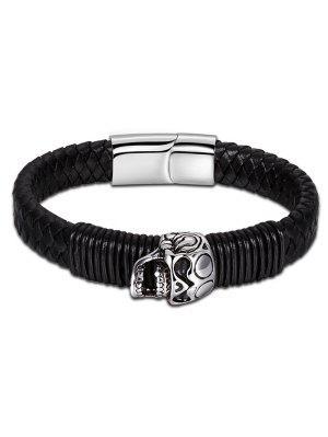Bracelet en Similicuir Tressé avec Crâne