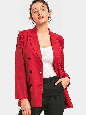 Long Sleeve Double-breasted Blazer - Red S