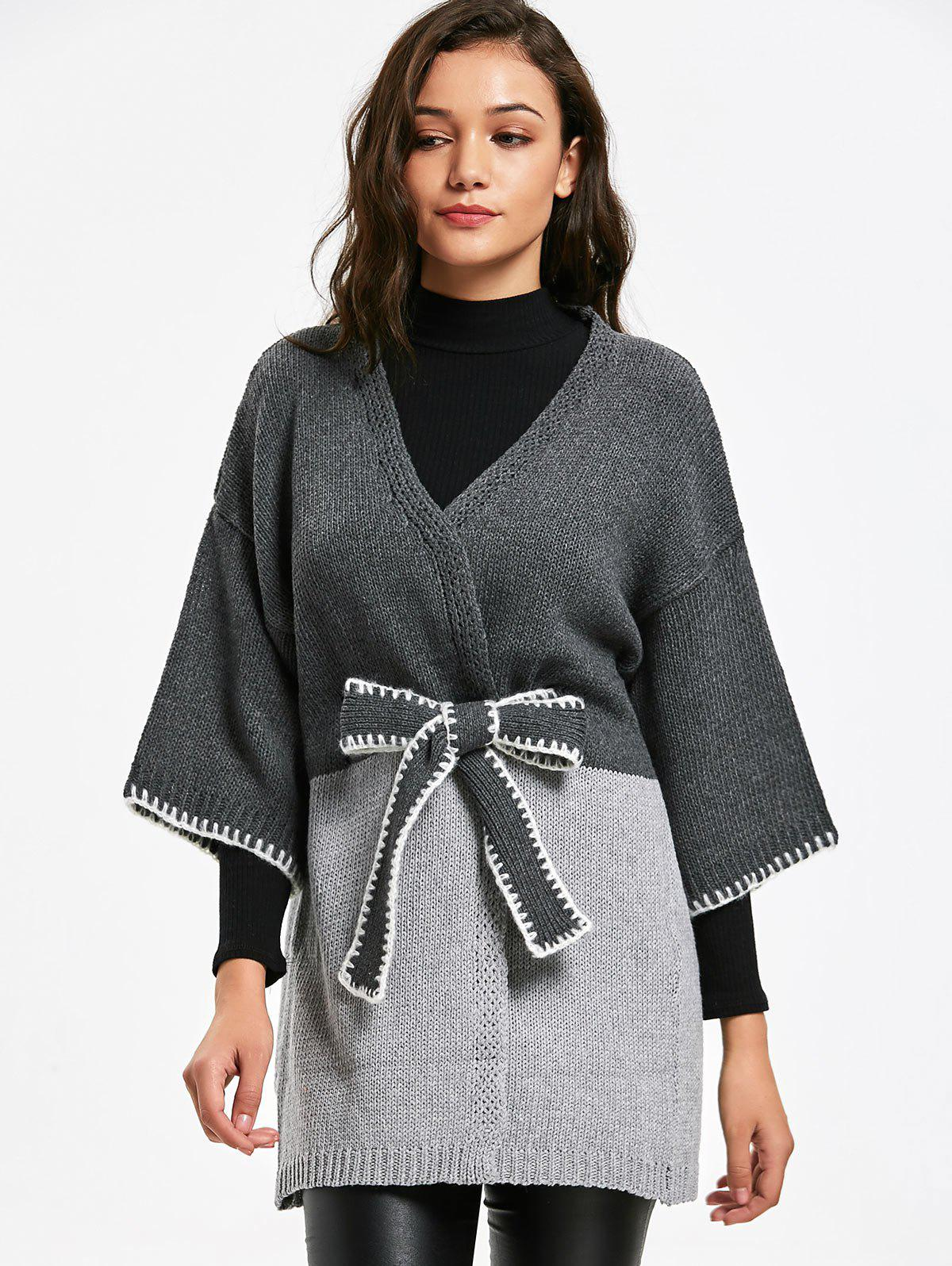 Belted Long Two Tone Cardigan 228447101