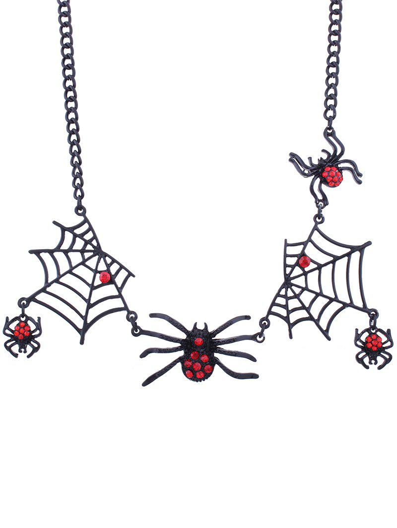 Halloween Spider and Web Charm Necklace