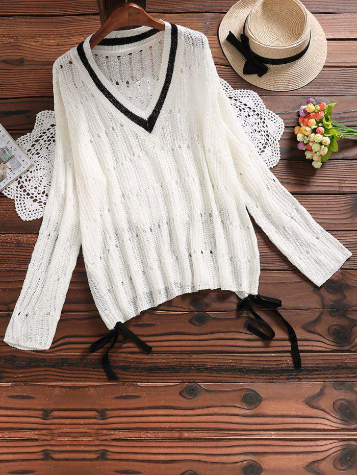 Self Tie Hollow Out Knitted Top 228486302