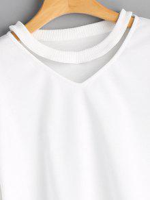 Out Sleeve Xl Blanco Sweatshirt Cut Plain 0Zzwqn8n