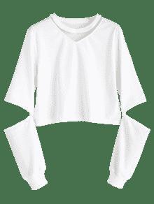 Sweatshirt Sleeve Xl Blanco Out Cut Plain tx4wqPntZ