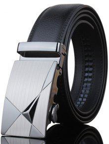 أنيق شكل المثلث مزين مشبك معدني أسود حزام واسعة للرجال - أسود