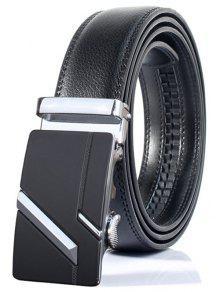 بسيط مزين خط متوازي التلقائي مشبك حزام واسعة - فضة