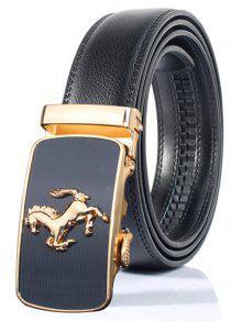 أنيق شكل الحصان زخرفة التلقائي مشبك حزام واسع - أسود