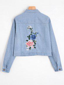 جاكيت دانيم مرقع بالأزهار - الضوء الأزرق Xl
