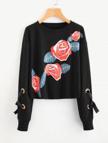 Crew Neck Floral Print Sweatshirt